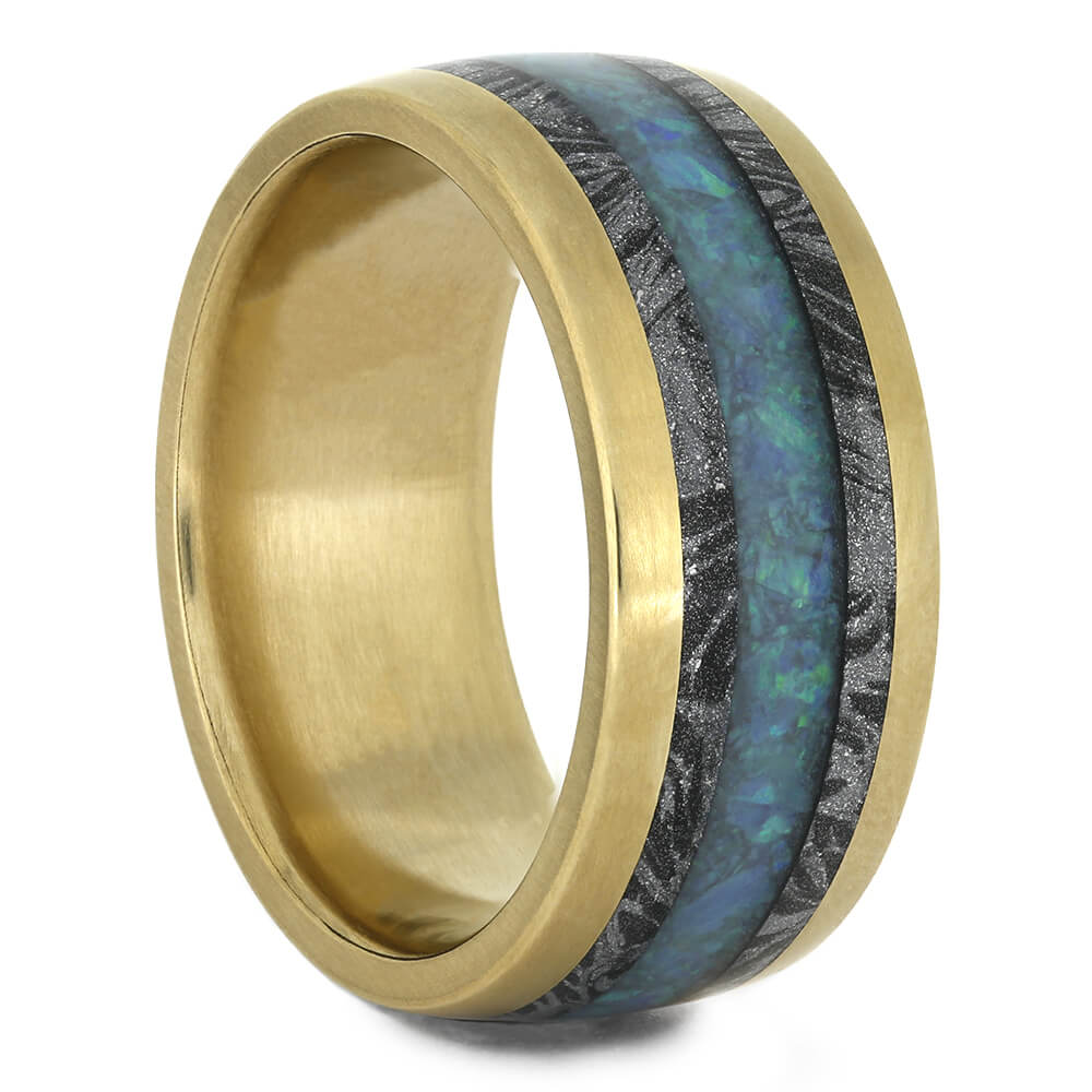 Unisex Wedding Band with Opal and White Mokume in Yellow Gold, Size 8.5-RS10940 - Jewelry by Johan