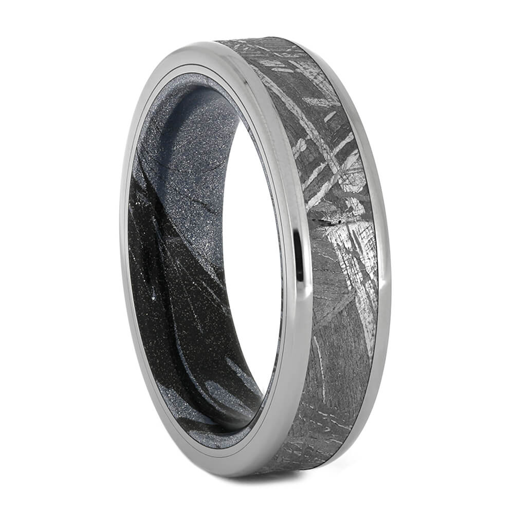 Men's Wedding Band with Gibeon Meteorite and Cobaltium Mokume Sleeve, Size 8.5-RS10941 - Jewelry by Johan