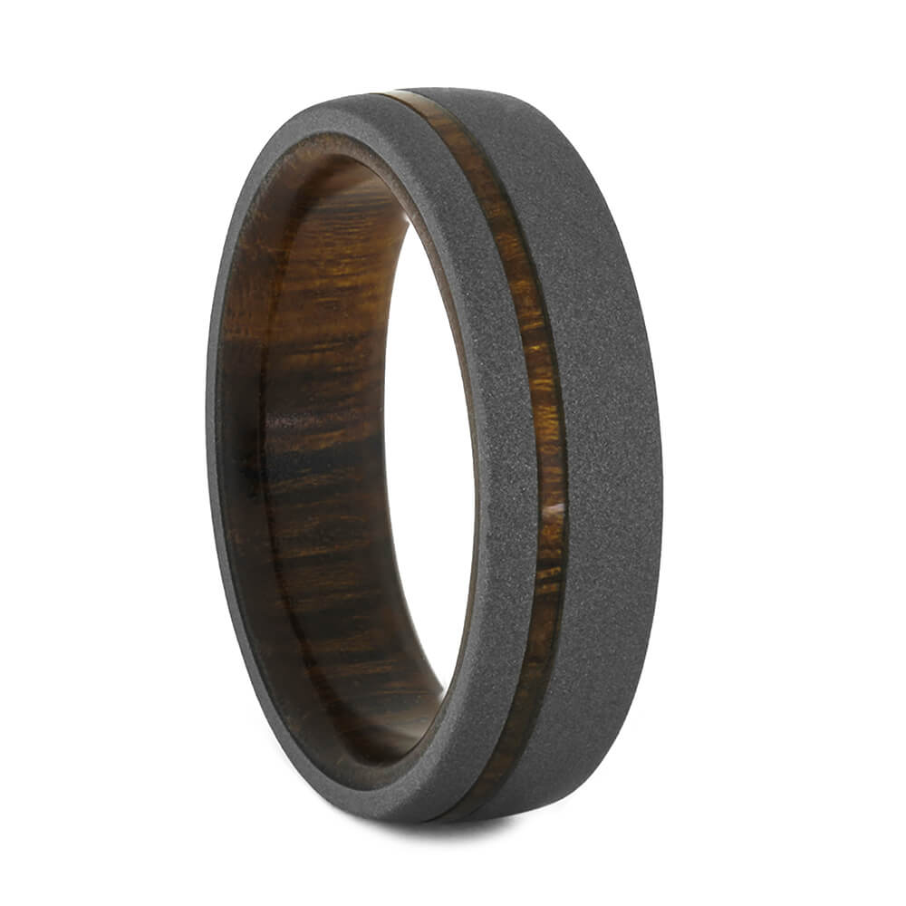 Men's Wood Wedding Band with sandblasted finish