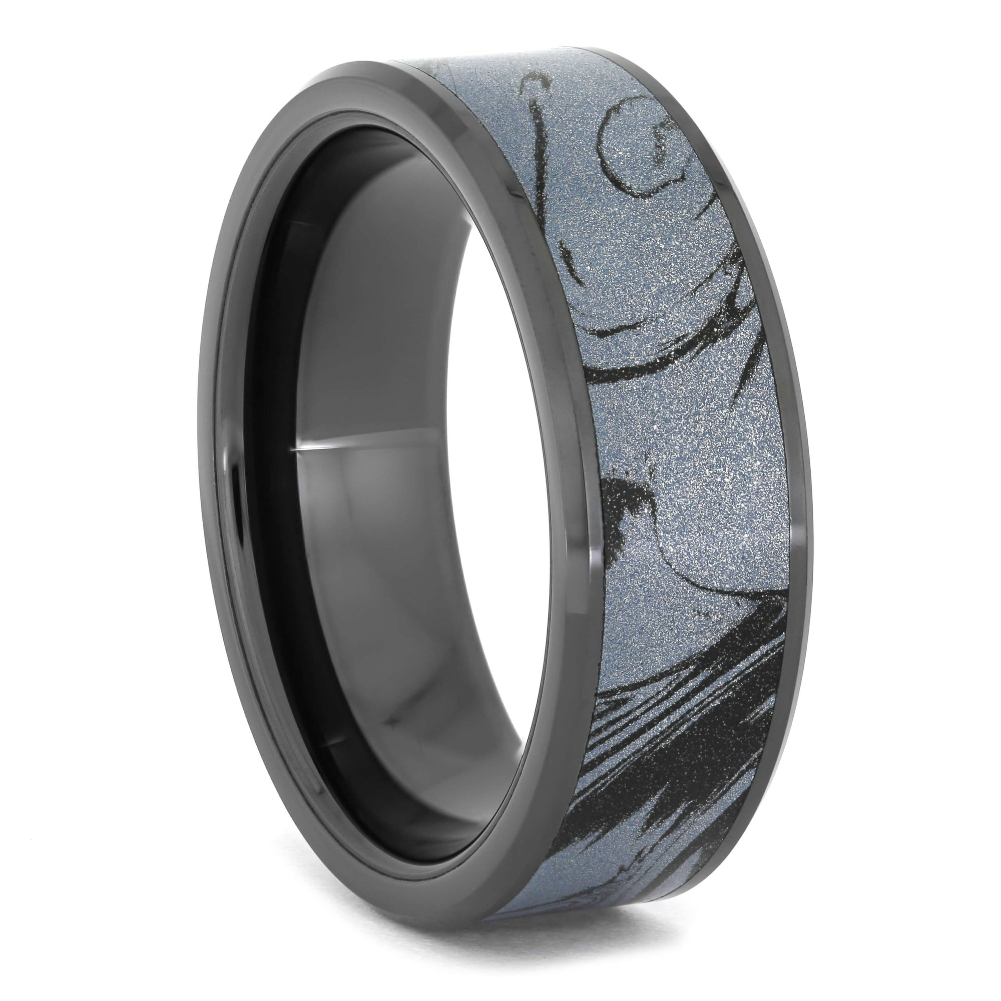 Black Ceramic Wedding Band with Cobaltium Mokume, Ring Size 11-RS10950 - Jewelry by Johan