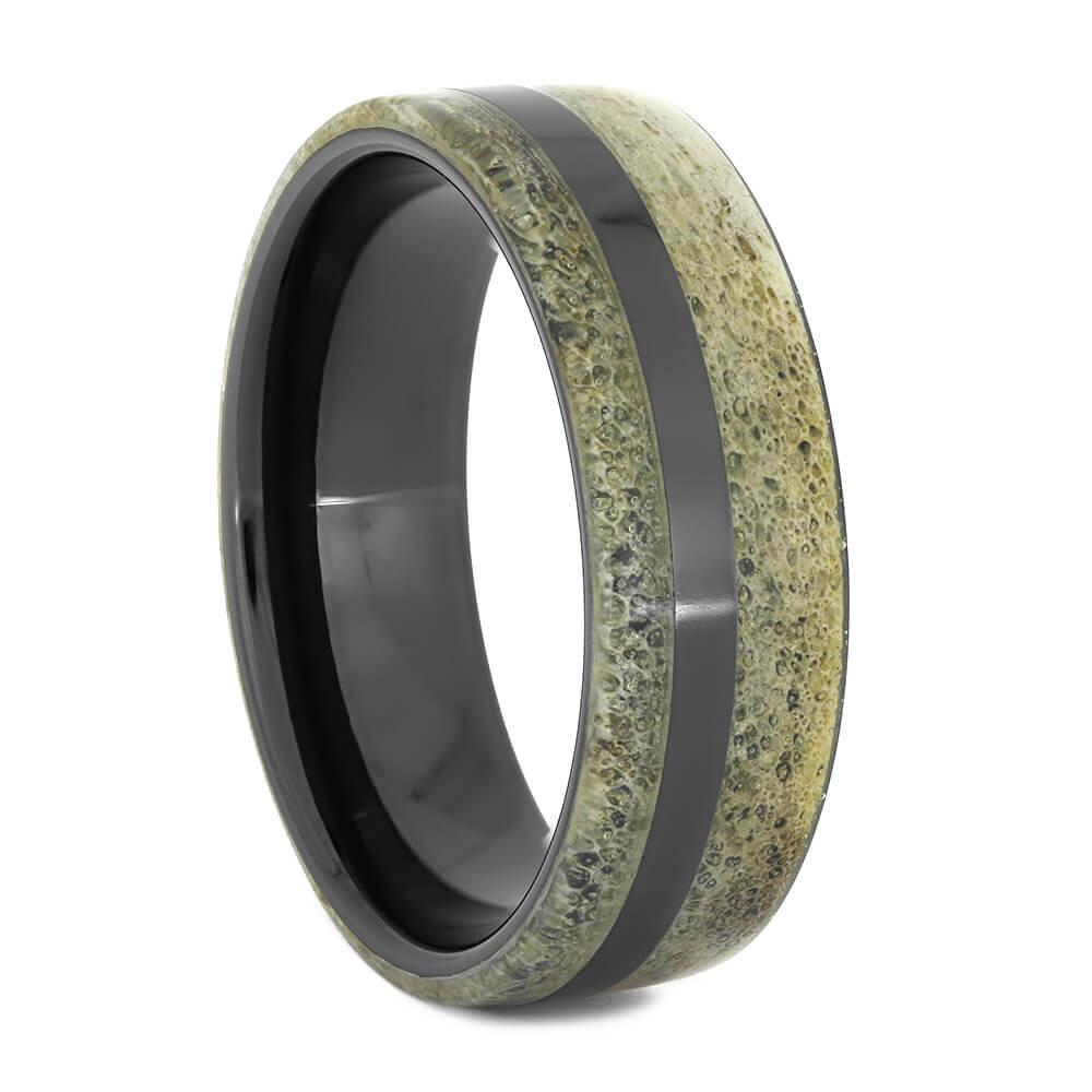 Men's Wedding Band with Deer Antler