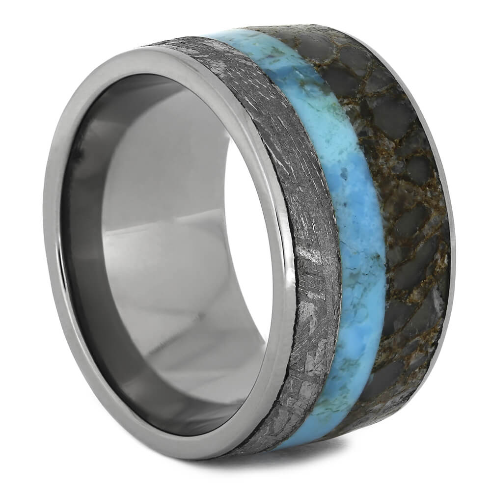 Meteorite Ring With Turquoise and Fossil Inlays, Size 5.5-RS10959 - Jewelry by Johan