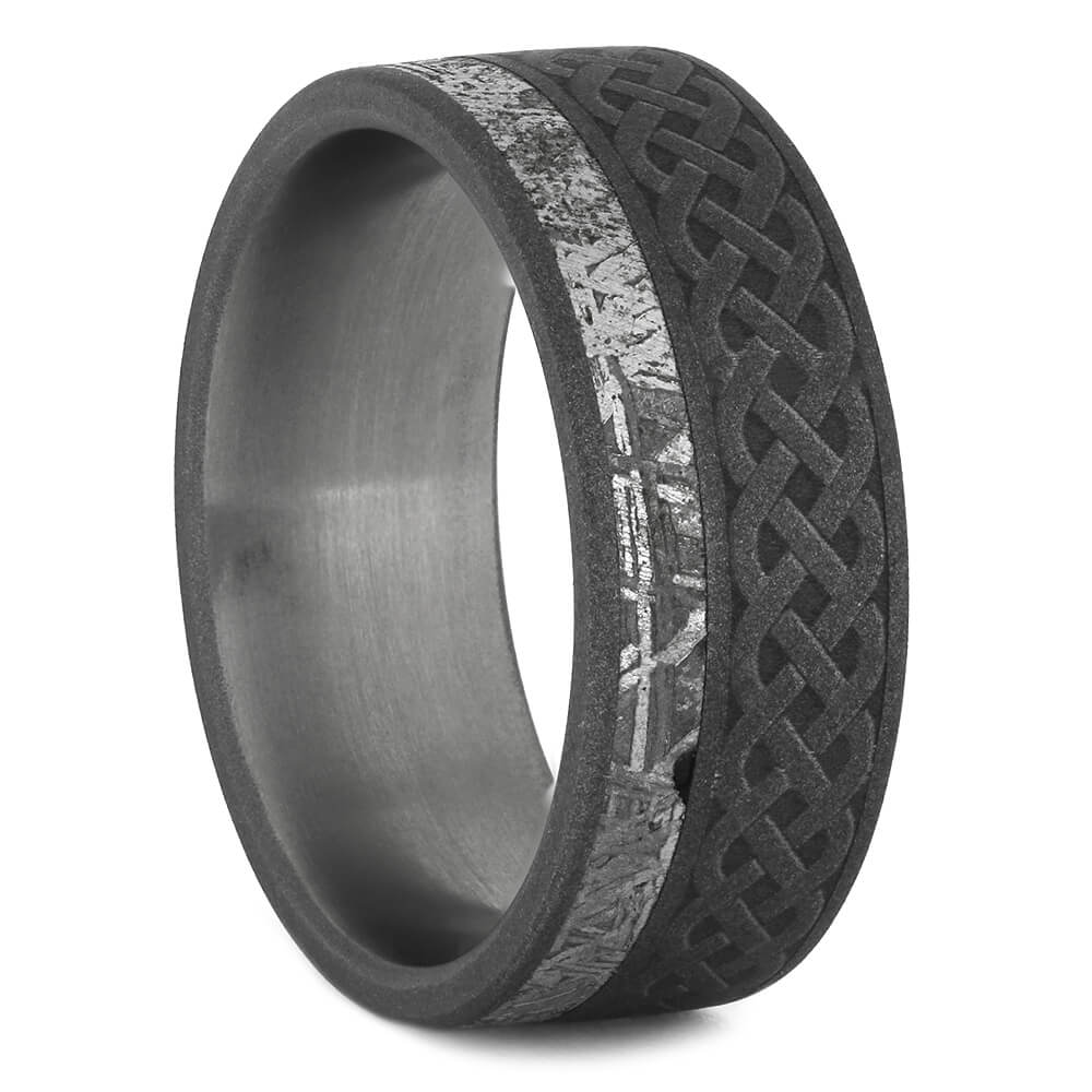 Celtic Ring with Gibeon Meteorite and Sandblasted Finish, Size 6.75-RS10961 - Jewelry by Johan