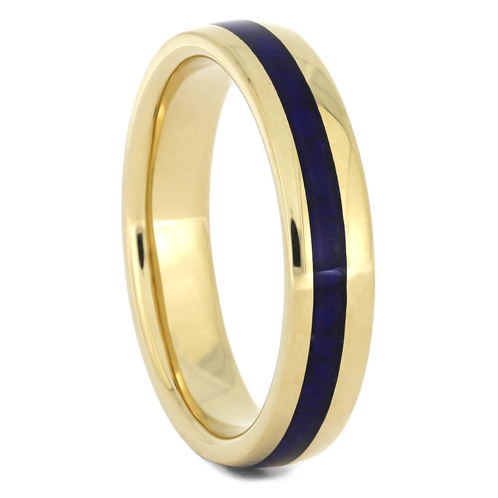 Lapis Lazuli Women's Wedding Band in Yellow Gold, Ring Size 5.75-RS10964 - Jewelry by Johan