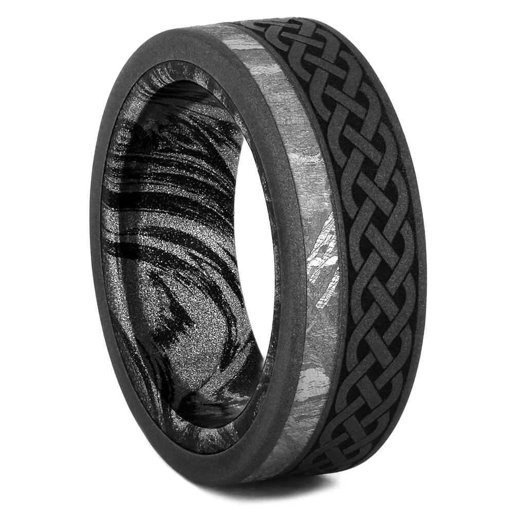 Meteorite Men's Wedding Band with Celtic Pattern and Mokume Sleeve, Size 7-RS10965 - Jewelry by Johan