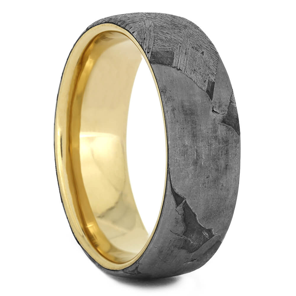 Seymchan Meteorite Wedding Band on Yellow Gold Sleeve, Size 7-RS10966 - Jewelry by Johan