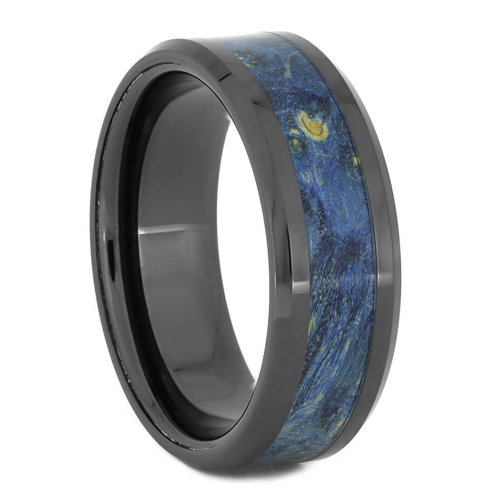 Black Ceramic Men's Wedding Band with Black and Blue Color
