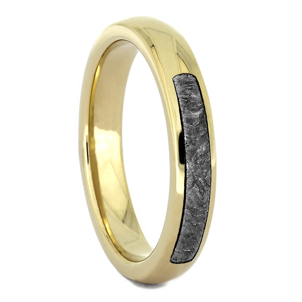 Thin Wedding Band with Gibeon Meteorite, Size 7-RS10968 - Jewelry by Johan