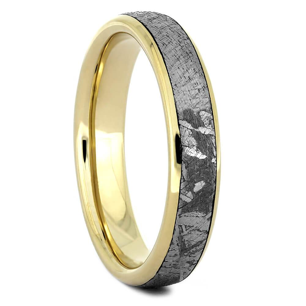 Meteorite Wedding Band with Yellow Gold, Size 7-RS10972 - Jewelry by Johan