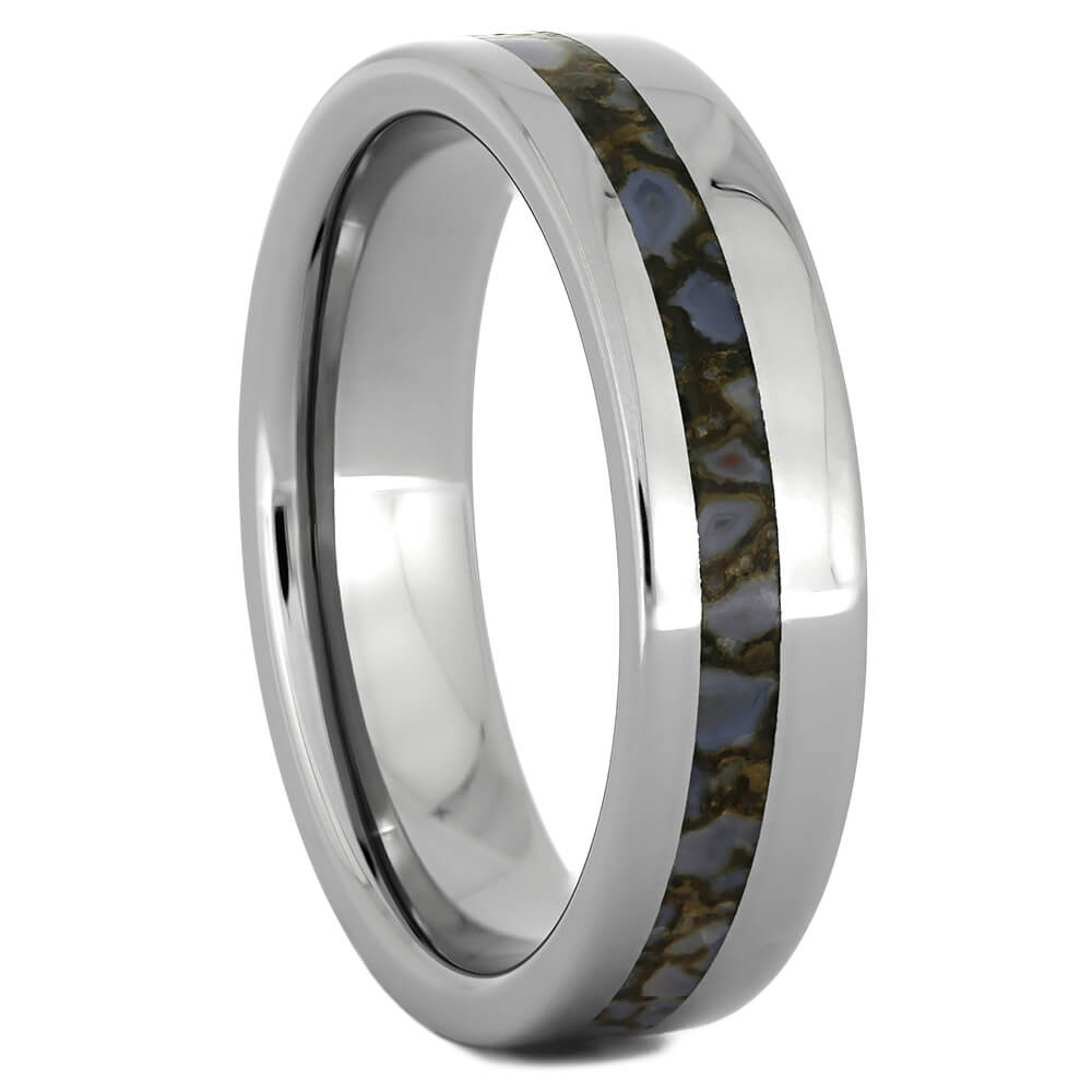 Blue Dinosaur Bone and Titanium Wedding Band, Size 10.75-RS10974 - Jewelry by Johan