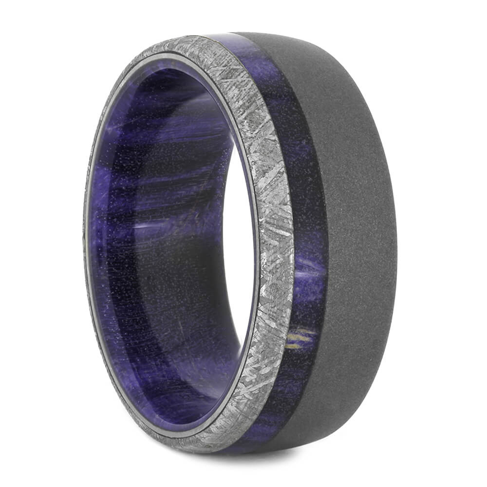 Meteorite Wedding Band with Wood Sleeve