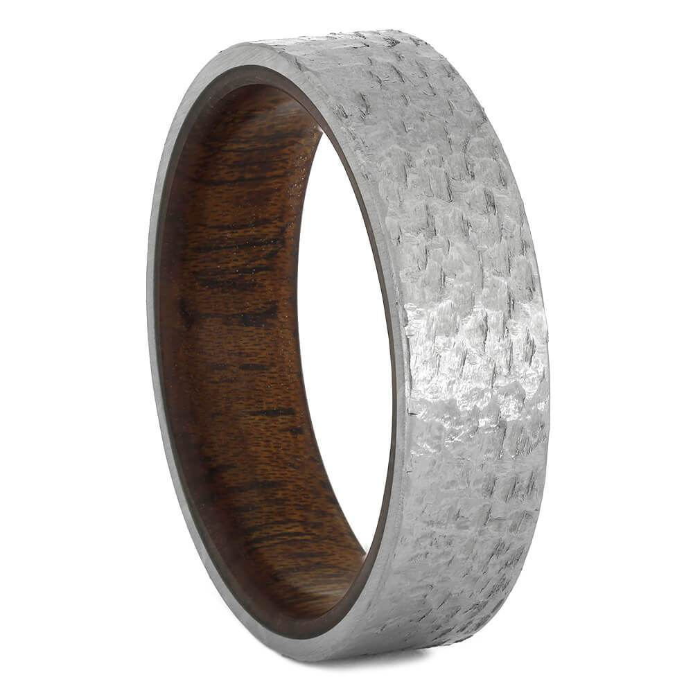 Hammered Titanium Wedding Band With A Mahogany Wood Sleeve - Jewelry by Johan
