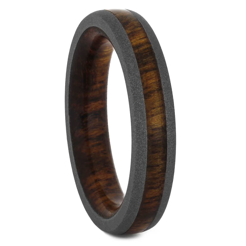 Narrow Rosewood Wedding Band with Titanium Edges, Size 5-RS11007 - Jewelry by Johan