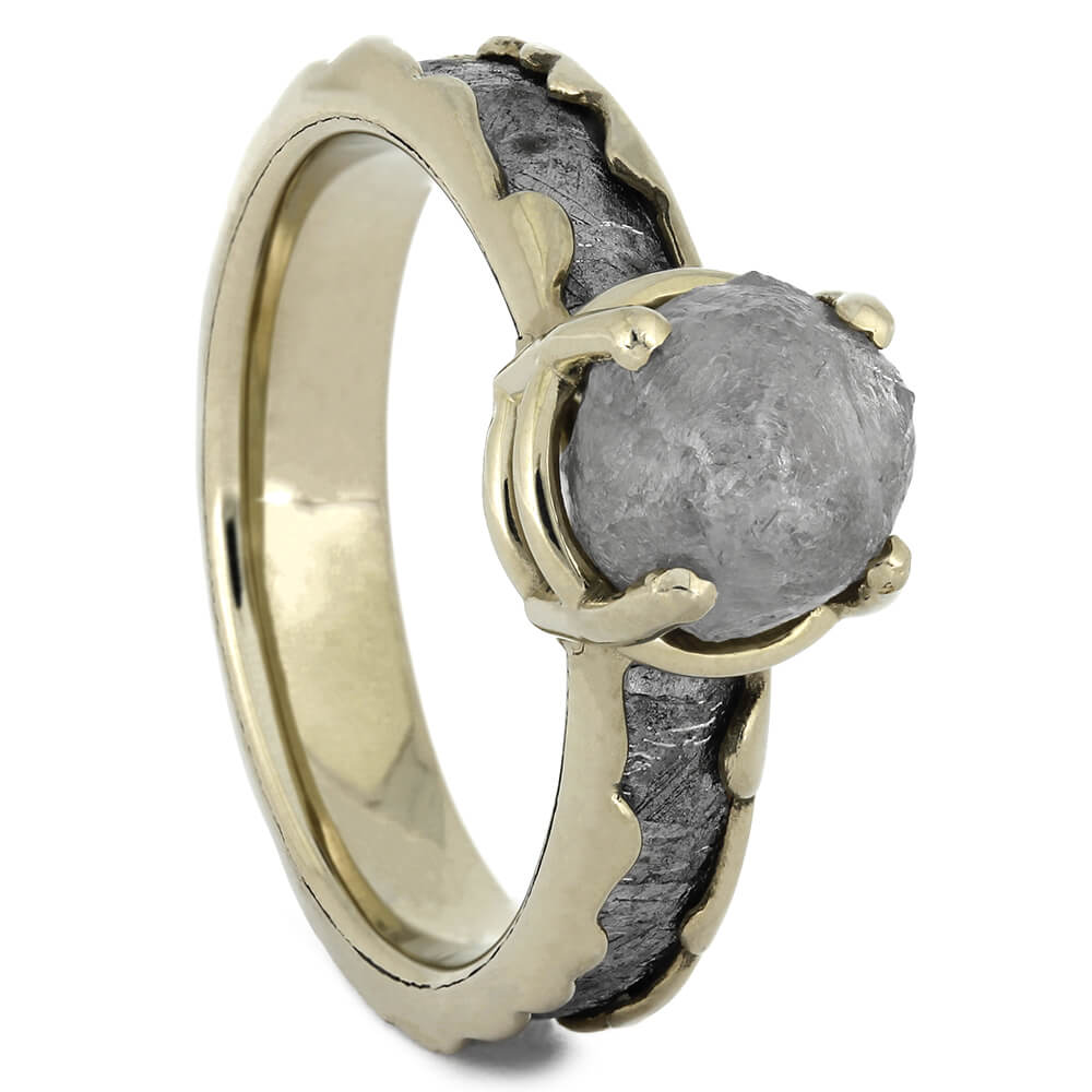 White Gold Engagement Ring with Meteorite and Rough Diamond, Size 6.75-RS11009 - Jewelry by Johan