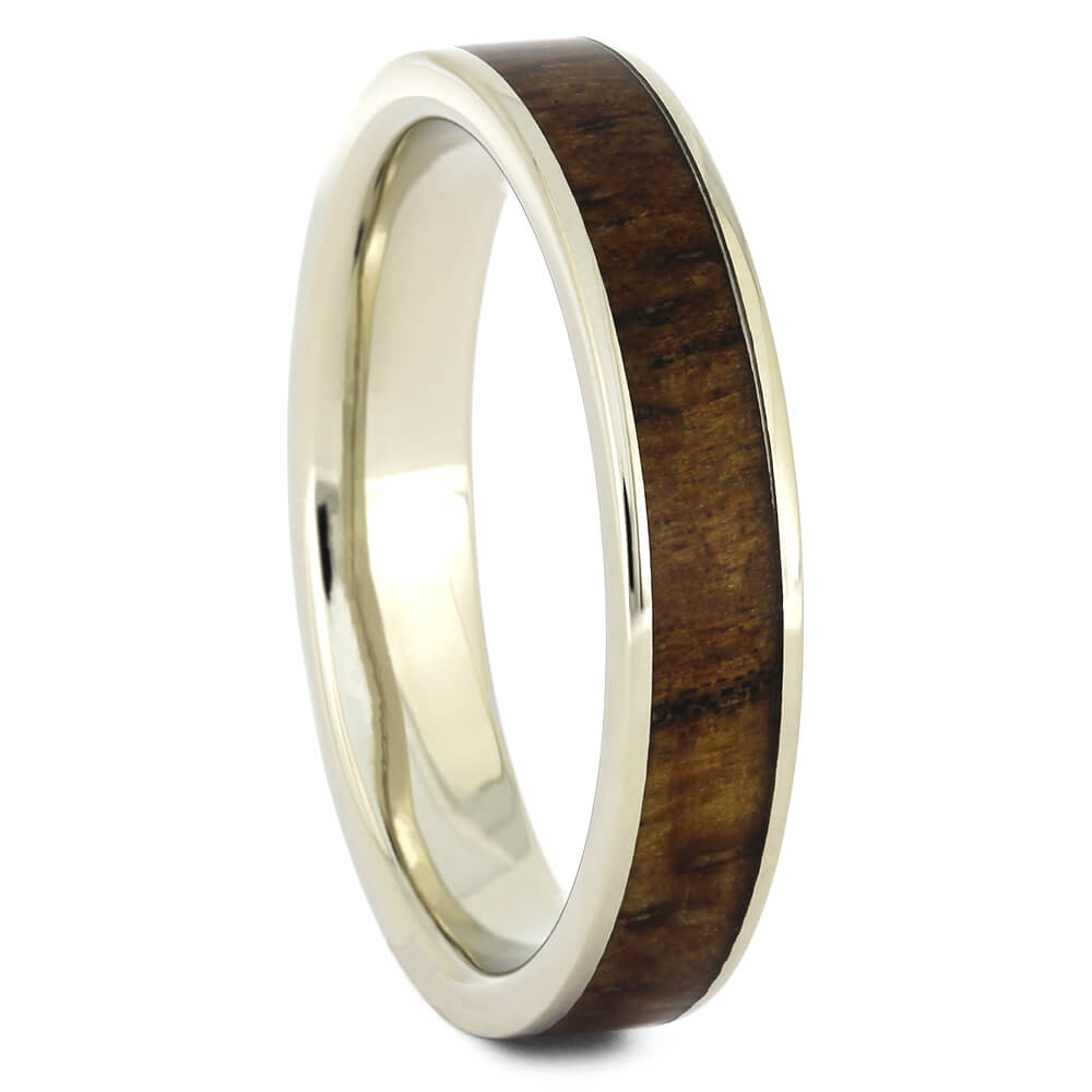 Thin Women's Wedding Band in White Gold with Wood Inlay