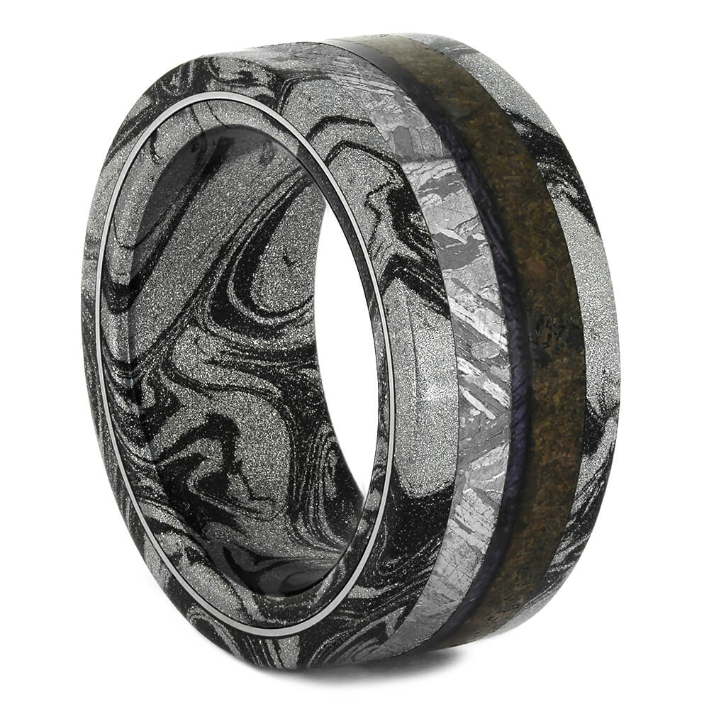 Black and White Mokume Wedding Band with Dinosaur Bone, Size 8.25-RS11015 - Jewelry by Johan