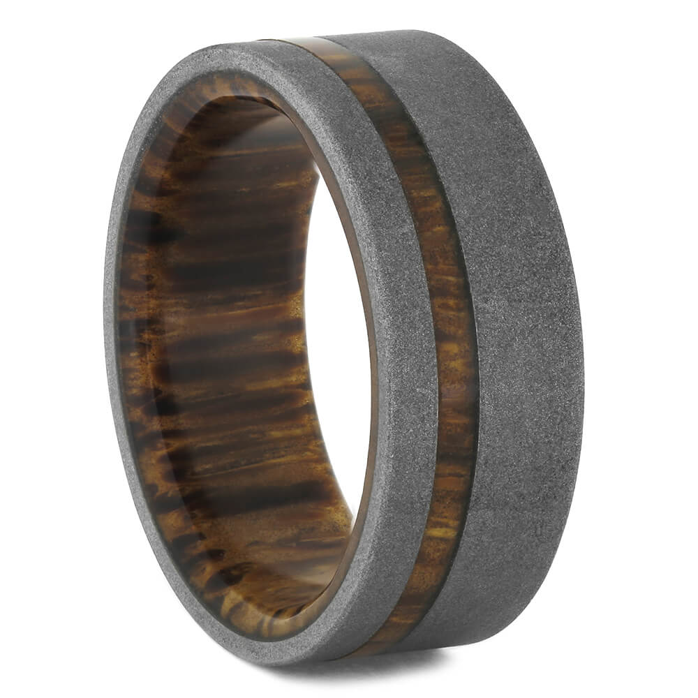 Red Palm Wood Wedding Band with Sandblasted Titanium, Size 8.75-RS11016 - Jewelry by Johan