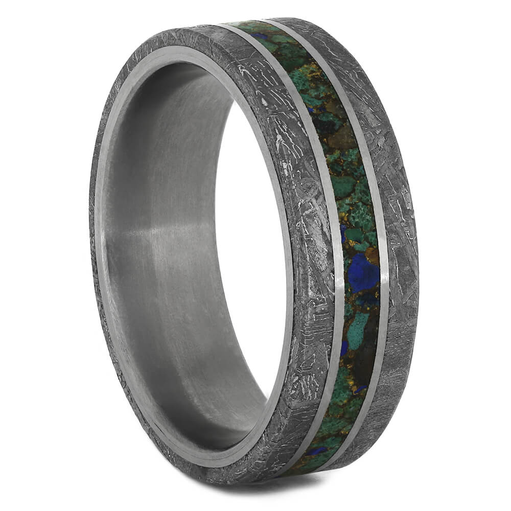 Desert Mosaic Turquoise Wedding Band with Meteorite, Size 9.5-RS11017 - Jewelry by Johan