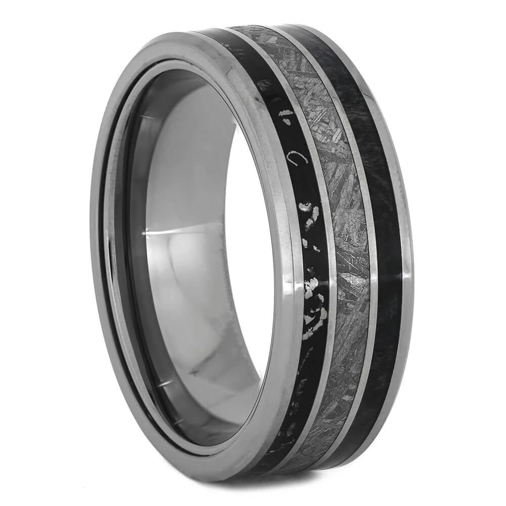 Meteorite Wedding Band with Black Stardust™, Size 10-RS11018 - Jewelry by Johan