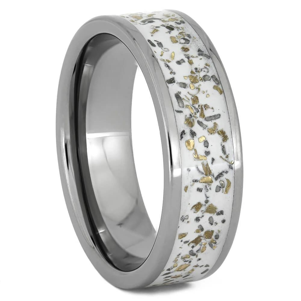 White Stardust™ Wedding Band with Yellow Gold Flakes, Size 10-RS11019 - Jewelry by Johan