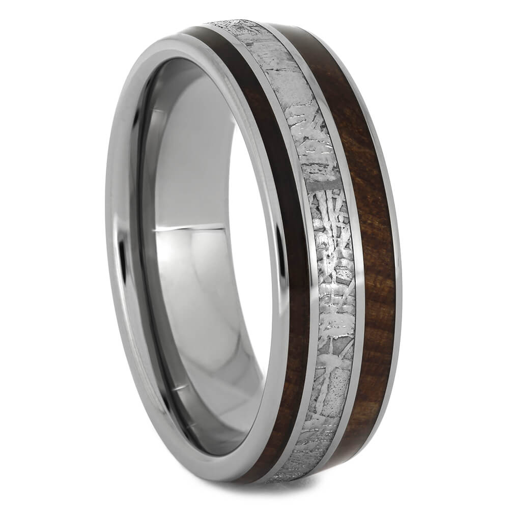 Redwood and Meteorite Wedding Band for Men, Size 10.5-RS11022 - Jewelry by Johan