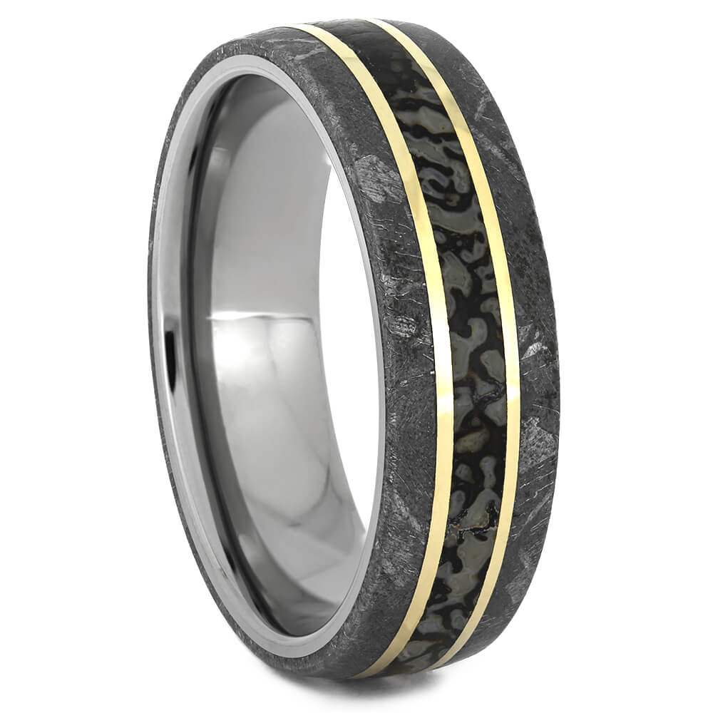 Dinosaur Bone and Gibeon Meteorite Ring with Yellow Gold Accent Stripes