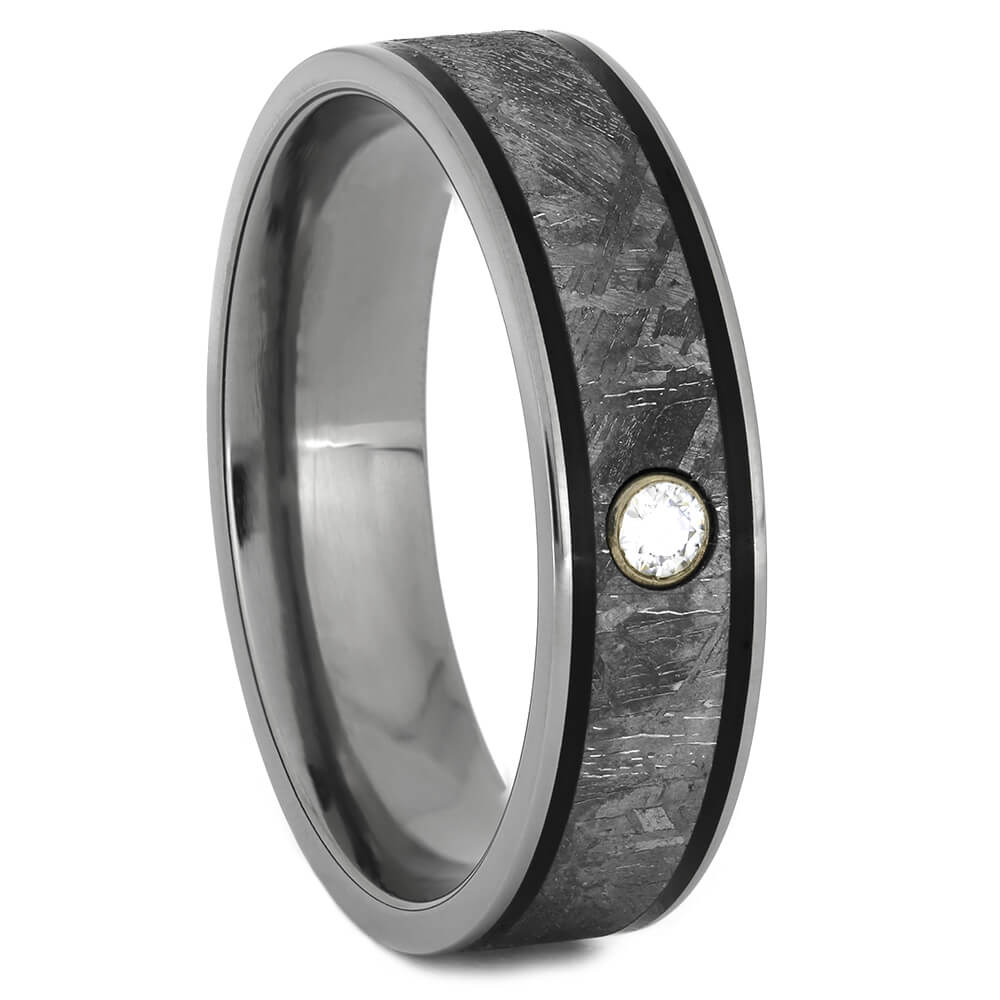 Meteorite Ring with Black Pinstripes and Moissanite, Size 11.25-RS11024 - Jewelry by Johan