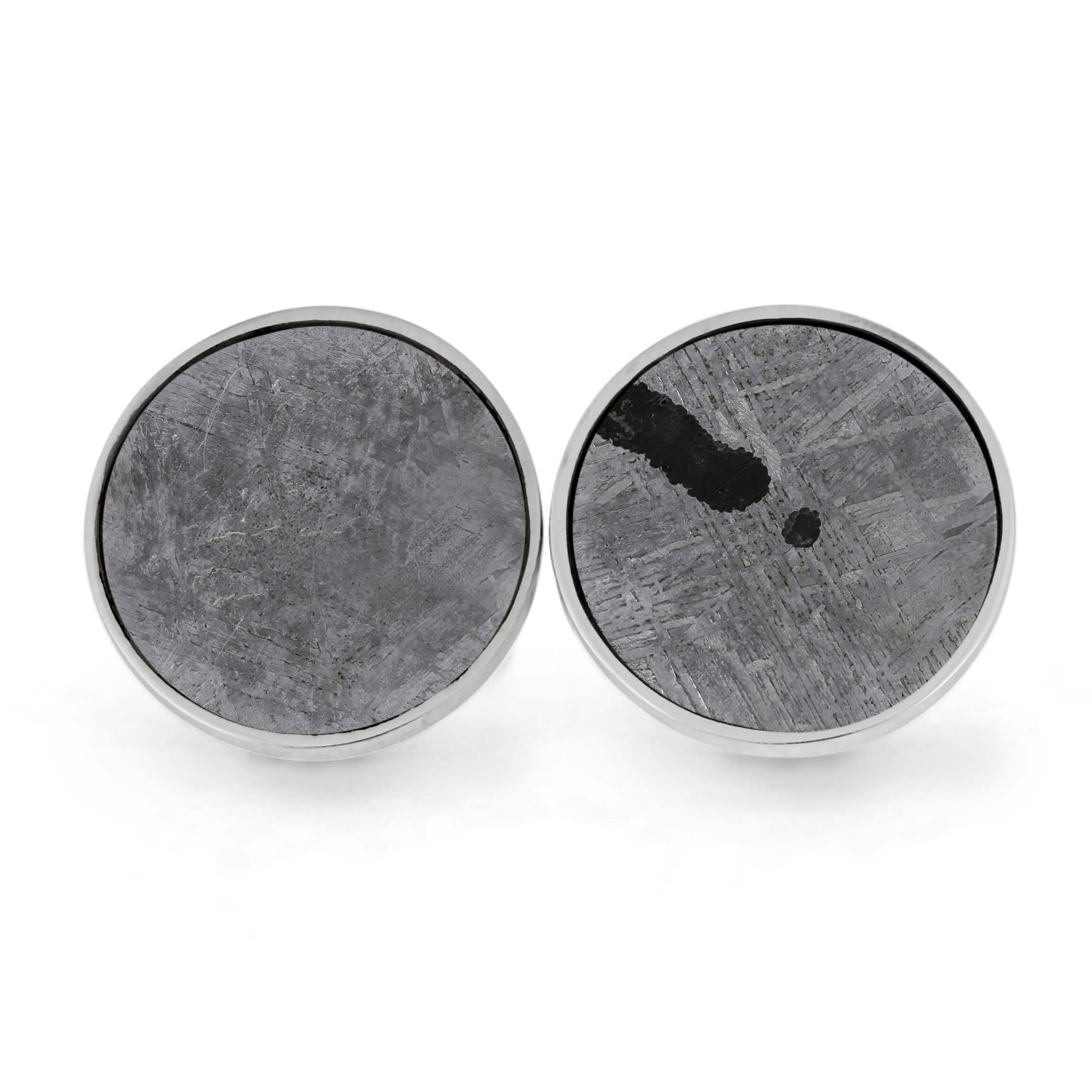 Pair of Meteorite Cuff Links in Sterling Silver with Unique Troilite-RS11026 - Jewelry by Johan