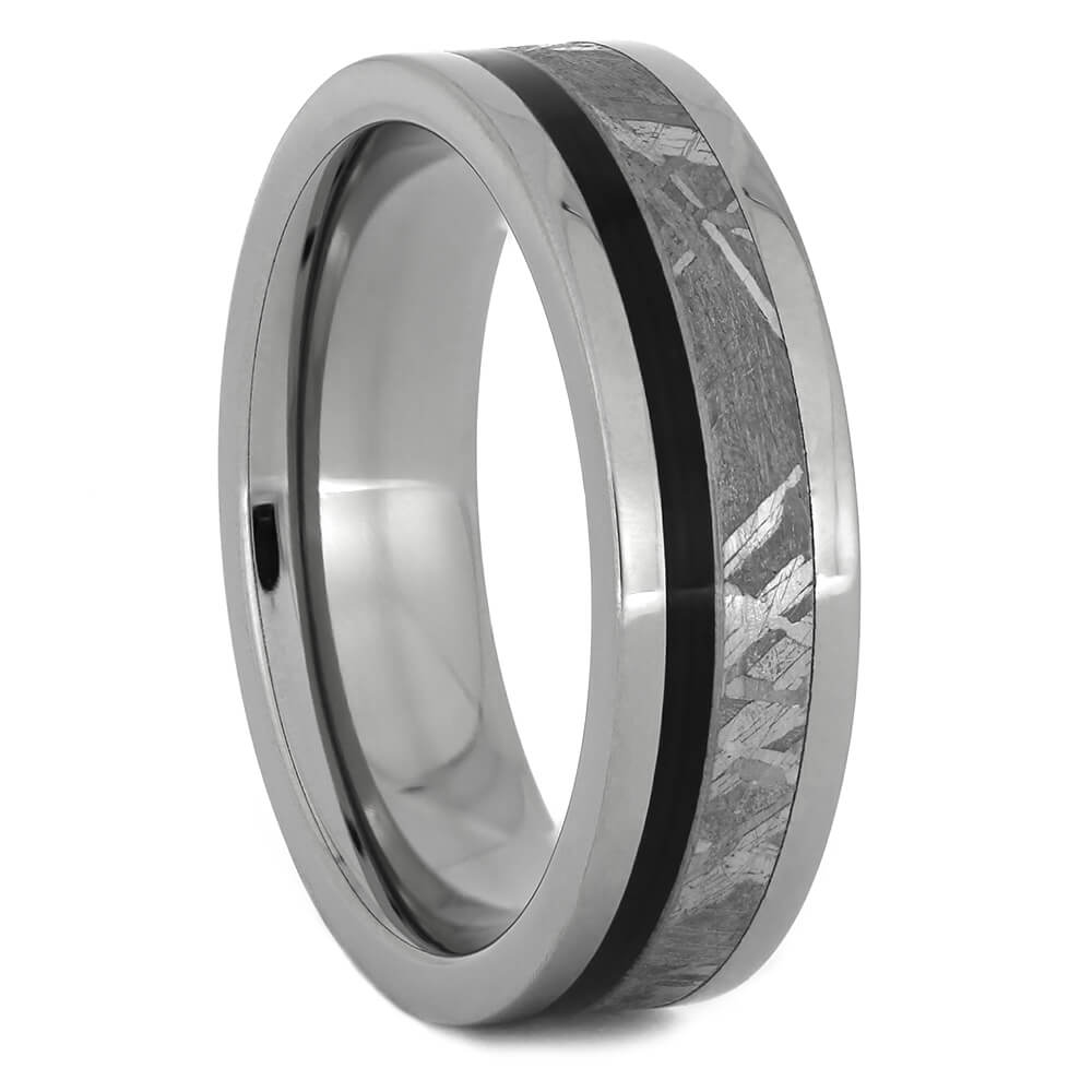 Titanium and Meteorite Wedding Band with Blackwood Pinstripe