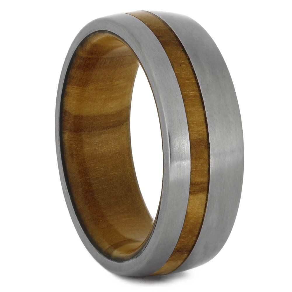 Olive Wood Ring with Matte Titanium, Size 10-RS11028 - Jewelry by Johan