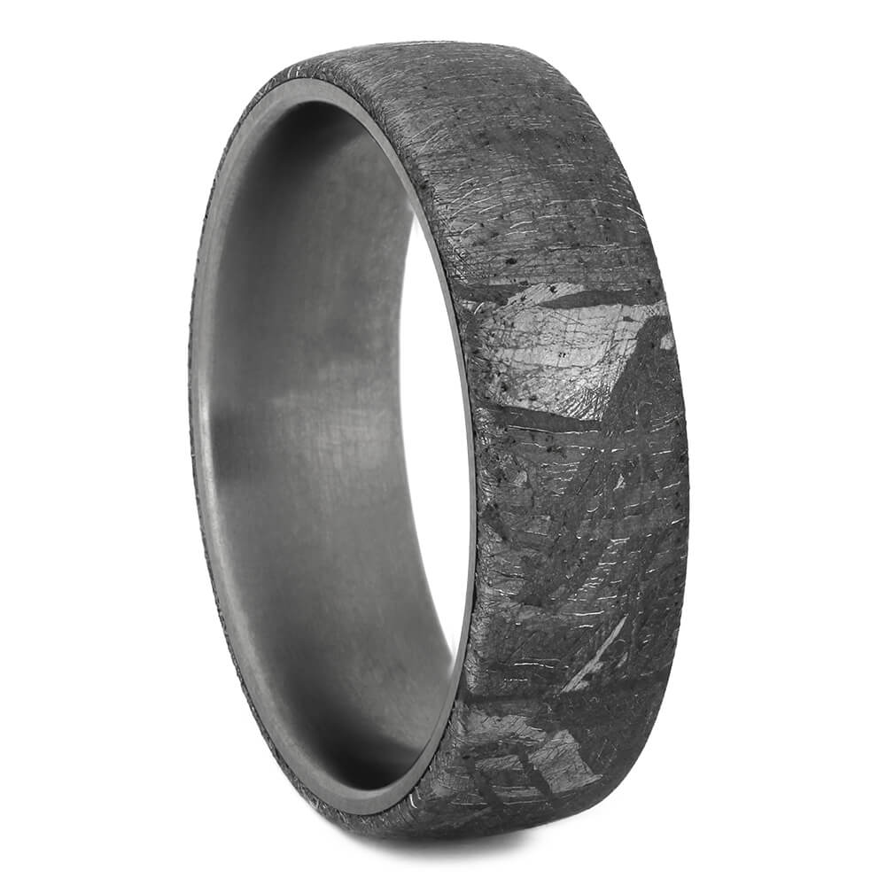 Meteorite Wedding Ring with Matte Titanium Sleeve, Size 7.25-RS11034 - Jewelry by Johan