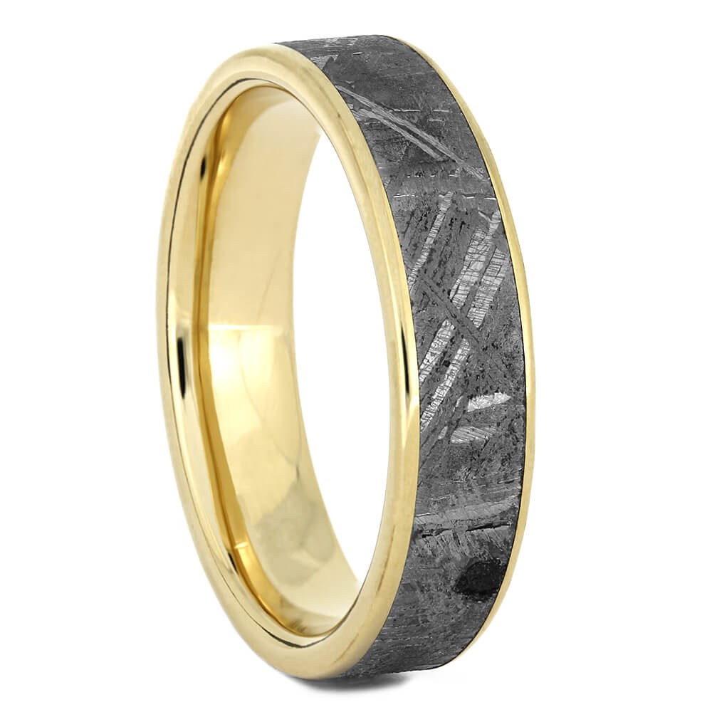 Meteorite Wedding Band in Yellow Gold, Size 8.75-RS11035 - Jewelry by Johan