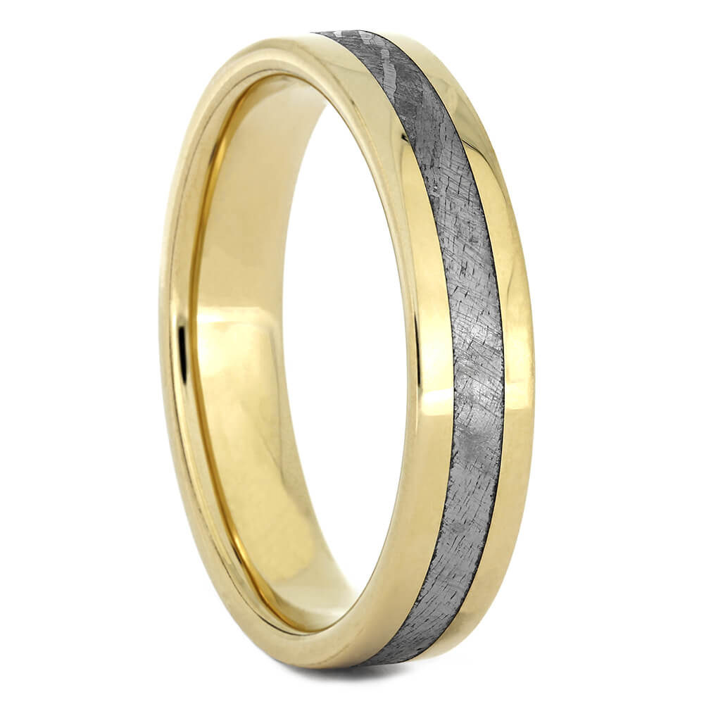 Meteorite Wedding Band with Yellow Gold, Size 10.25-RS11036 - Jewelry by Johan