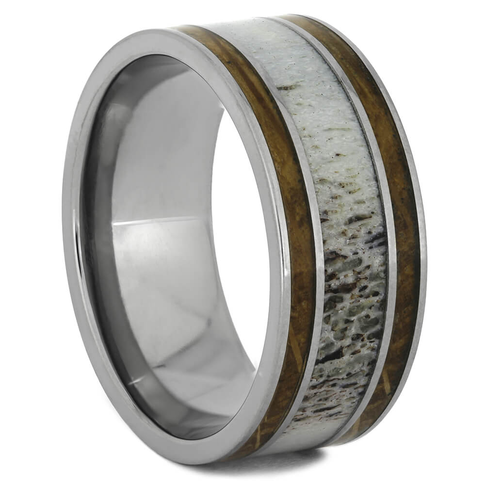 Deer Anter and Whiskey Barrel Wood Wedding Band in Titanium, Size 10.5-RS11037 - Jewelry by Johan