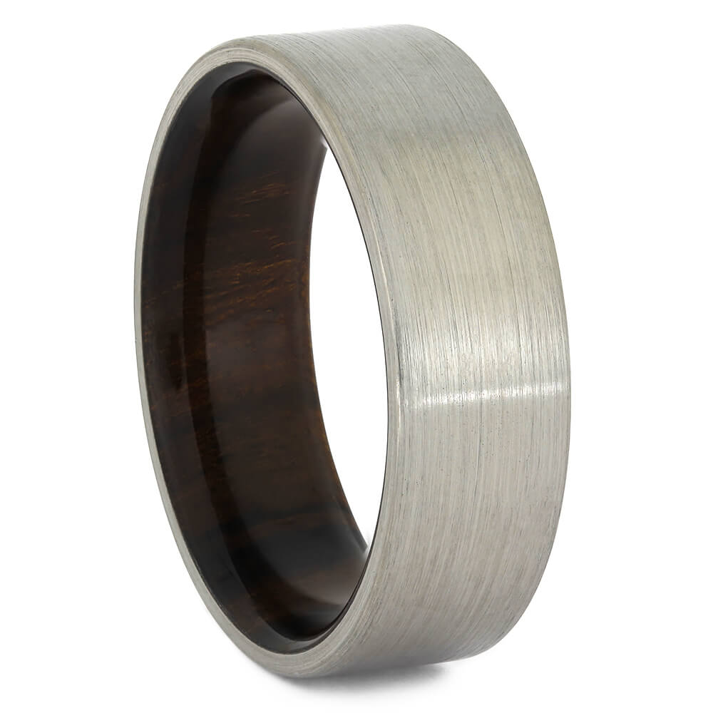 Titanium Overlay Wedding Band with Ironwood Sleeve