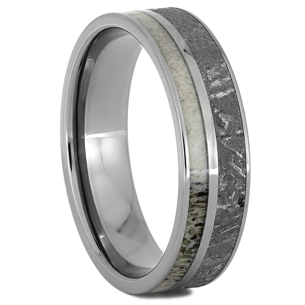 Men's Deer Antler Wedding Band with Meteorite, Size 14.5-RS11039 - Jewelry by Johan