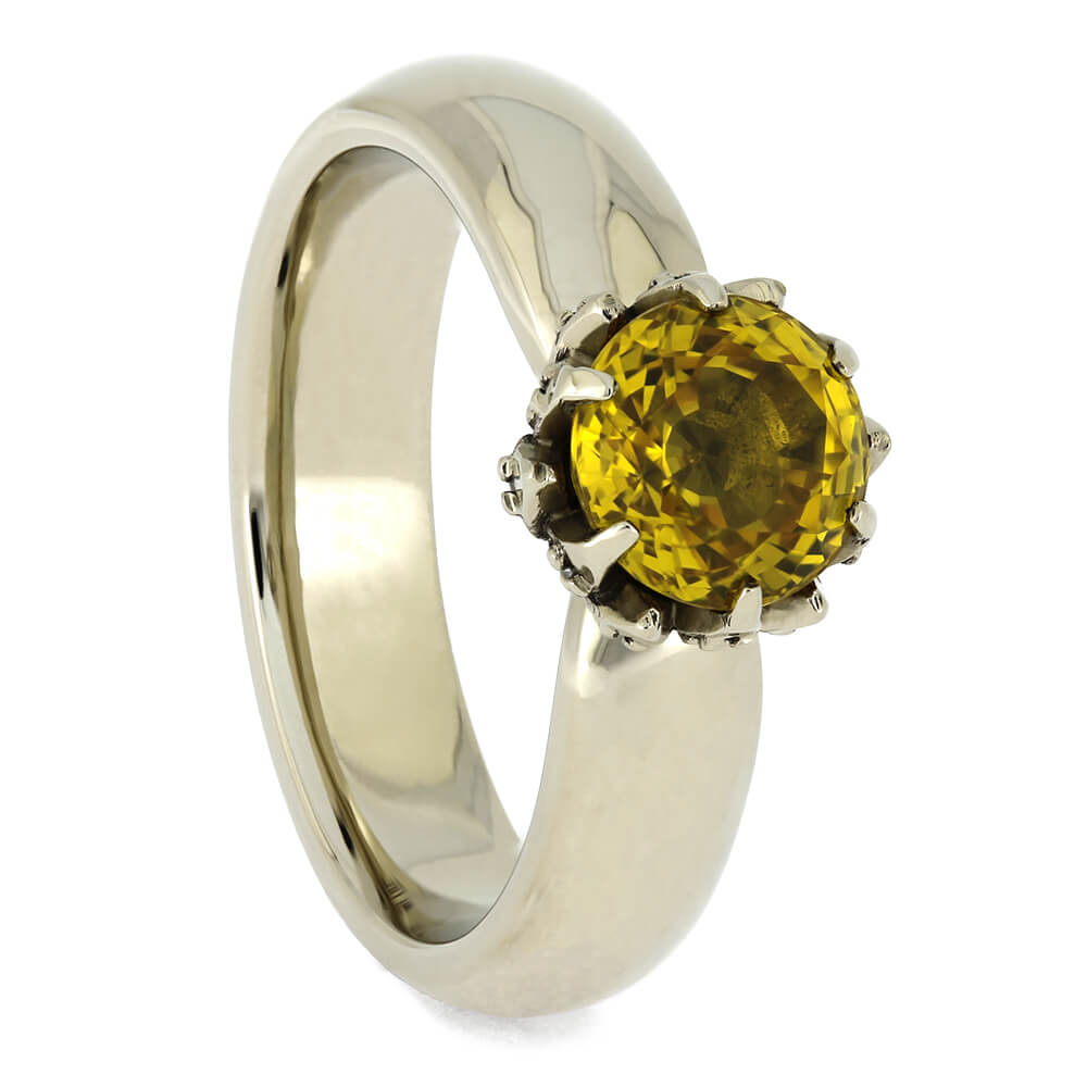 Yellow Sapphire Engagement Ring with Lotus Setting, Size 5.75-RS11041 - Jewelry by Johan