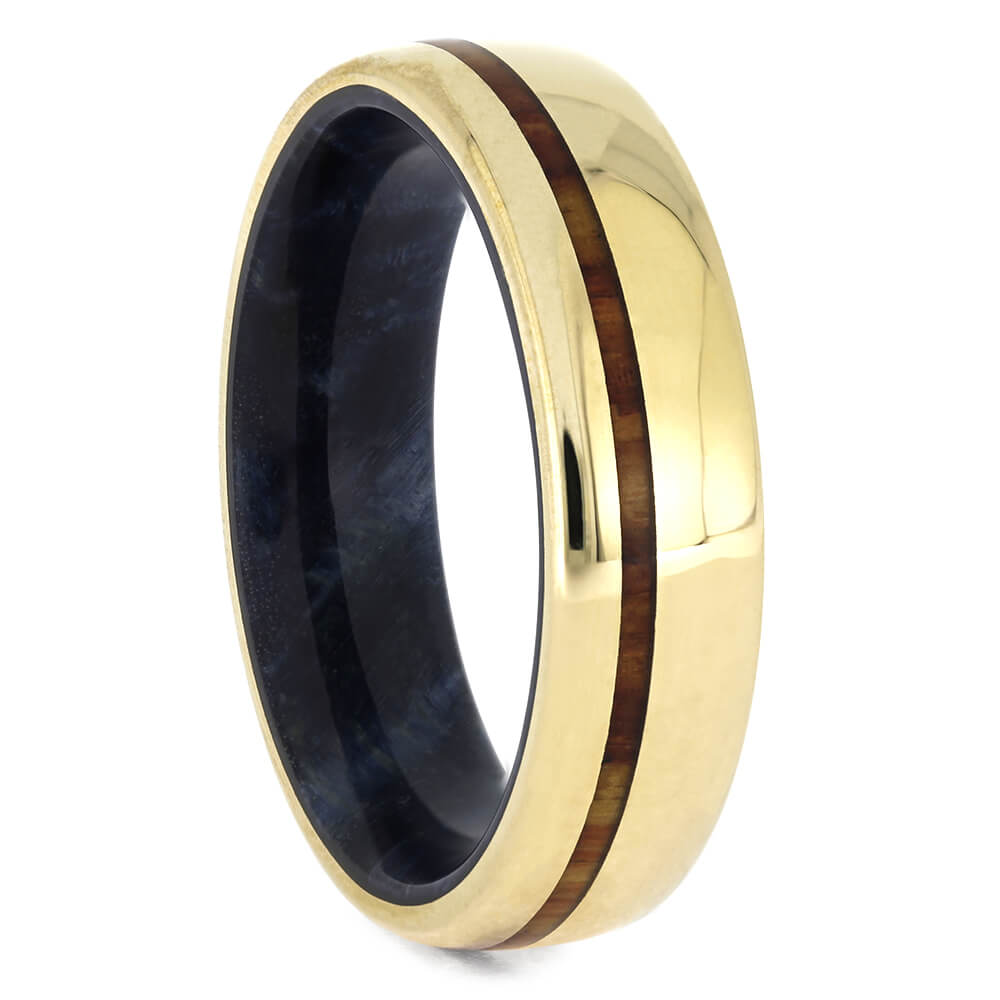 Yellow Gold Ring with Tulipwood and Blue Box Elder, Size 8.75-RS11042 - Jewelry by Johan