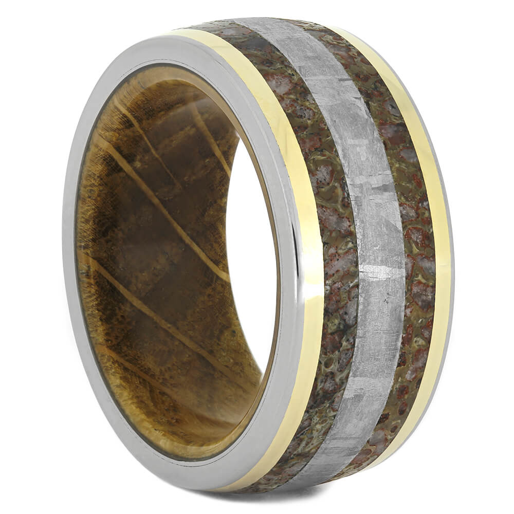 Dinosaur Bone Ring, Men's Meteorite Wedding Band with Wood Sleeve, Size 9.5-RS11047 - Jewelry by Johan