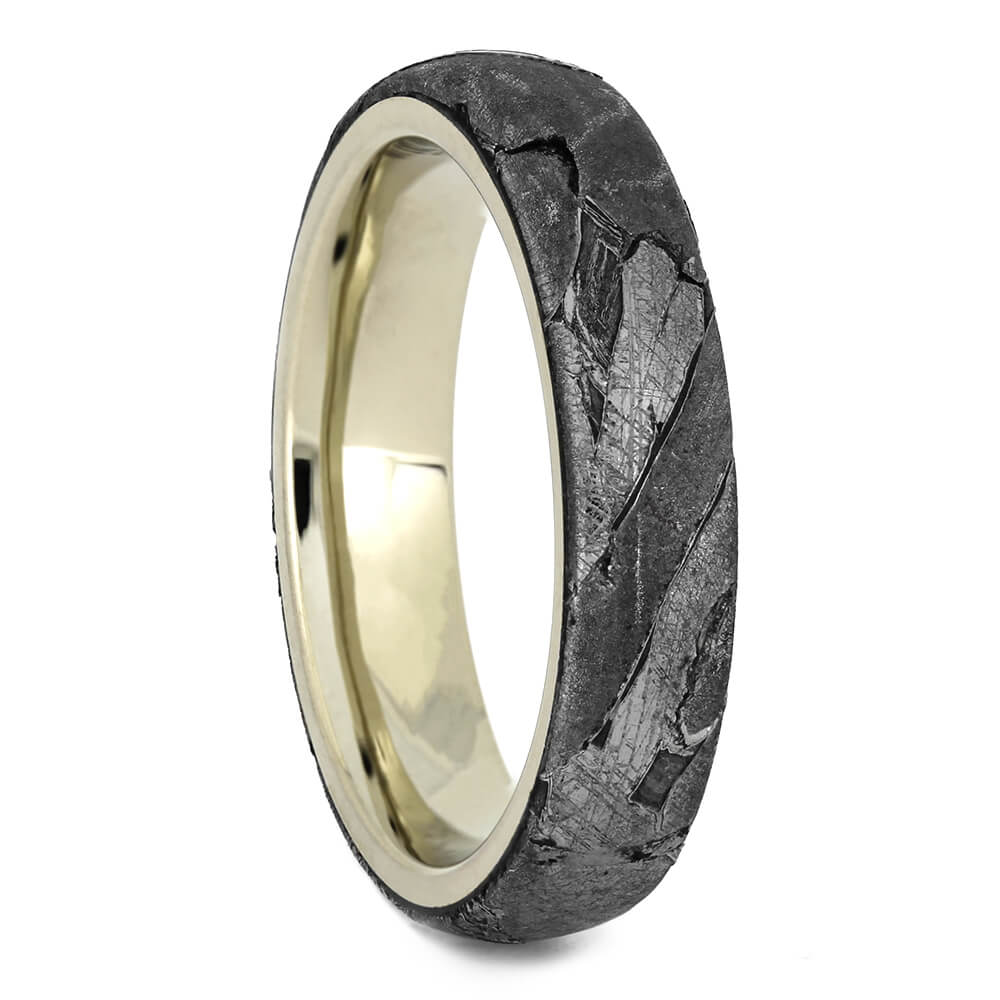 Seymchan Meteorite Ring for Women on White Gold, Size 4.25-RS11051 - Jewelry by Johan