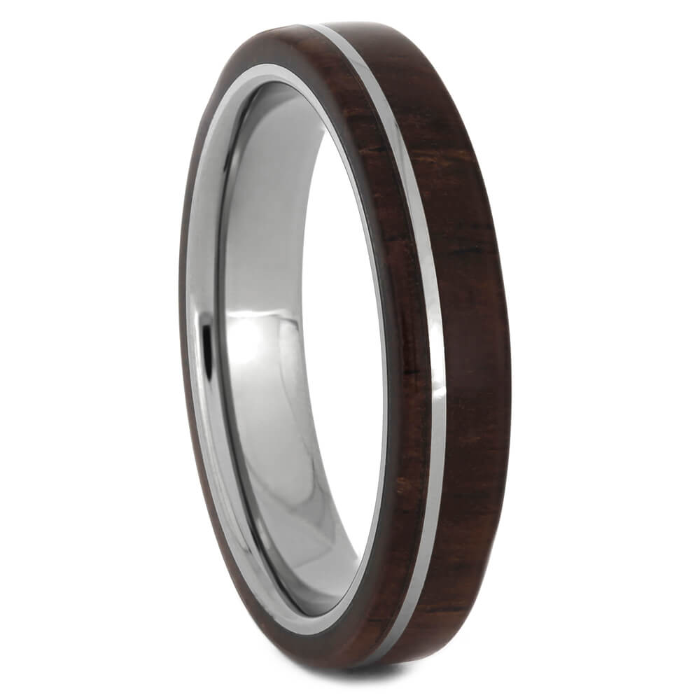 Rosewood Wedding Band on Titanium, Size 6-RS11052 - Jewelry by Johan