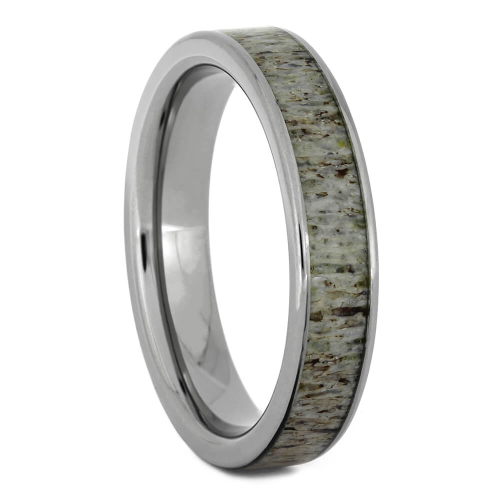 Women's Thin Wedding Band with Deer Antler, Size 6.5-RS11054 - Jewelry by Johan