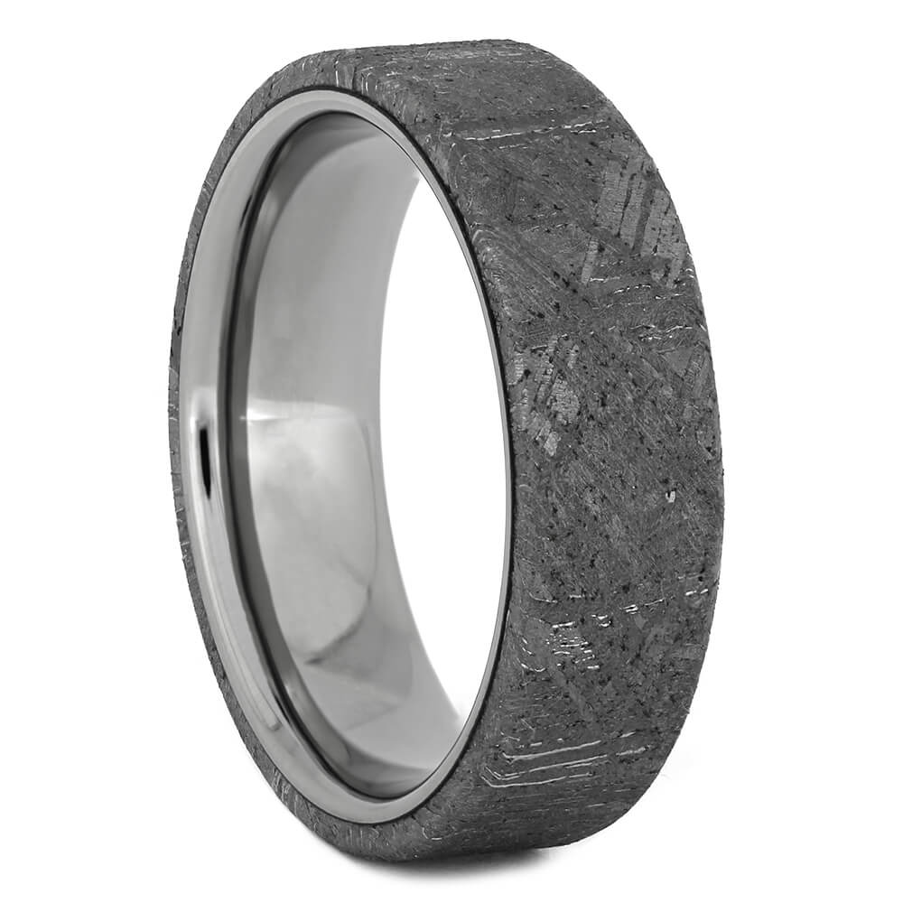 Men's Wedding Band with Gibeon Meteorite, Size 7-RS11055 - Jewelry by Johan