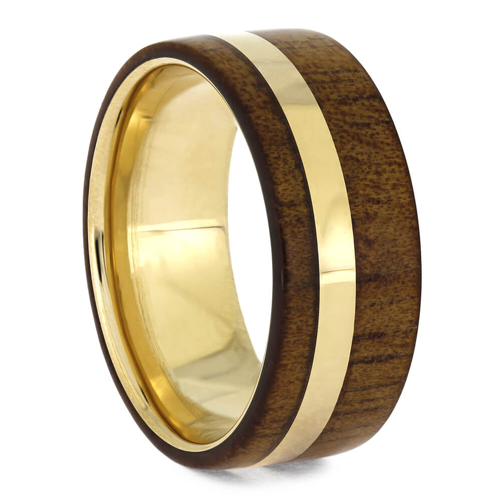Koa Wood Ring in Yellow Gold, Size 7.5-RS11056 - Jewelry by Johan