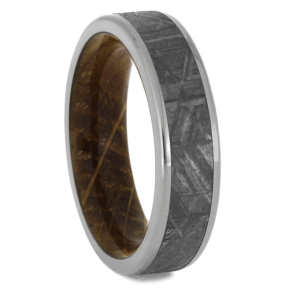 Whiskey Barrel Ring with Meteorite, Size 8-RS11058 - Jewelry by Johan
