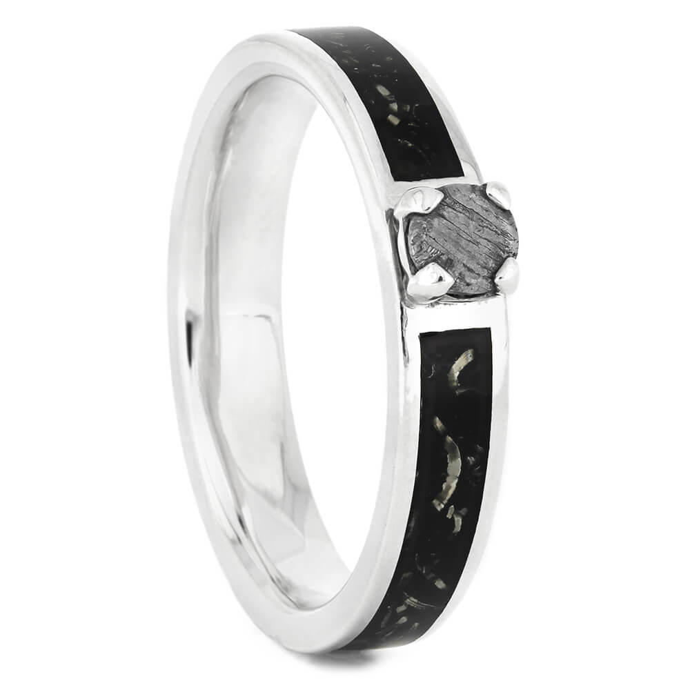 Silver Engagement Ring with Meteorite Stone and Black Stardust Inlay