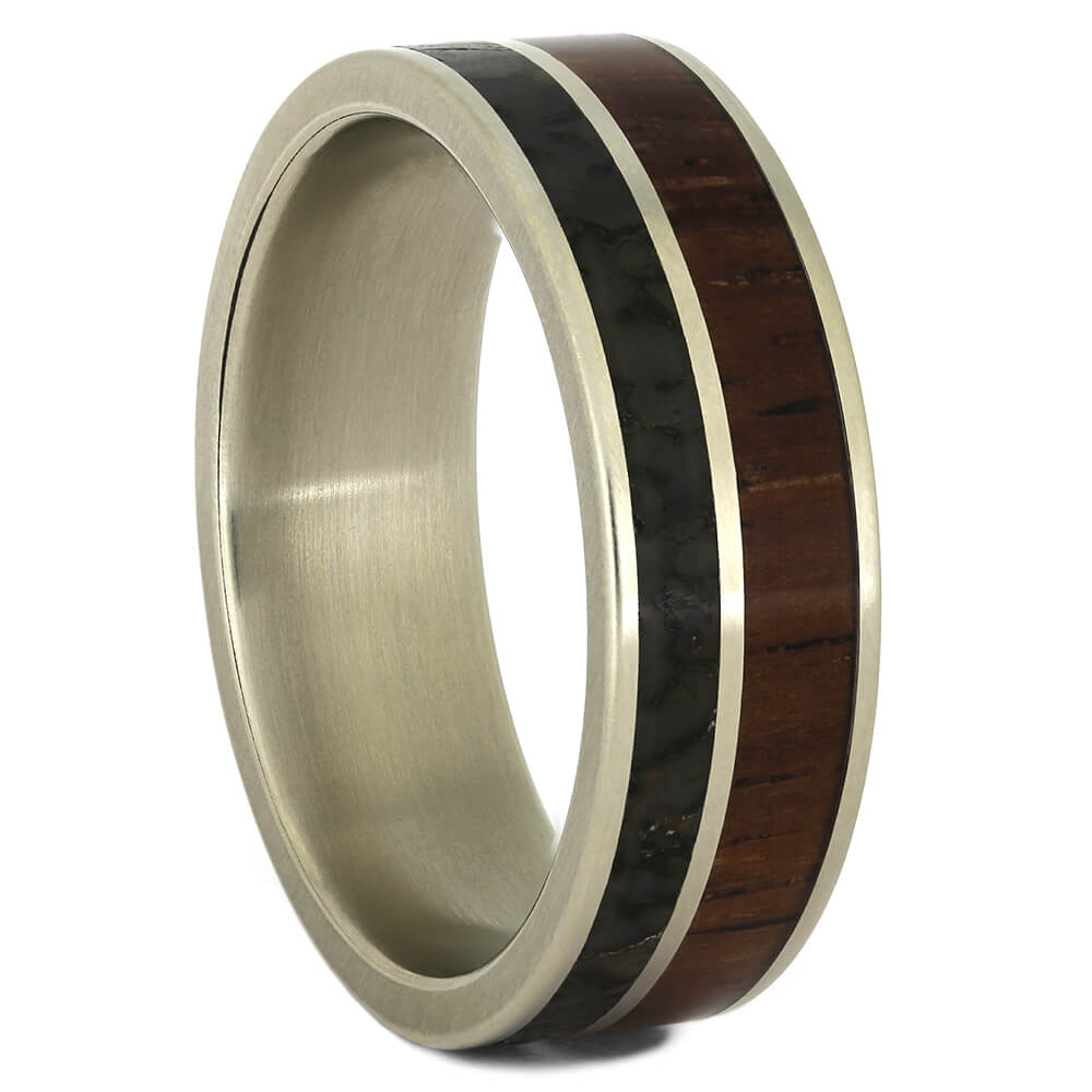 Dinosaur Bone Wedding Band with Honduran Rosewood, Size 9.5-RS11061 - Jewelry by Johan
