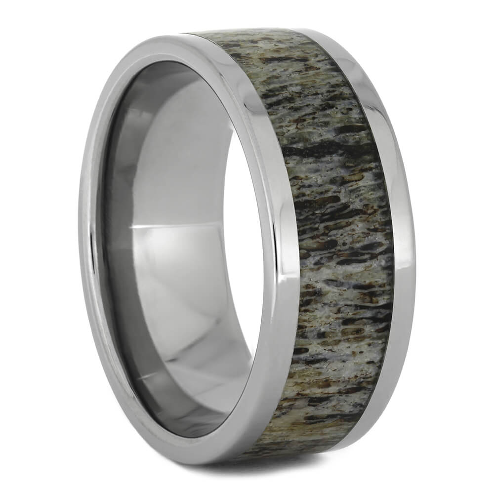 Men's Wedding Band with Deer Antler, Size 10.5-RS11063 - Jewelry by Johan