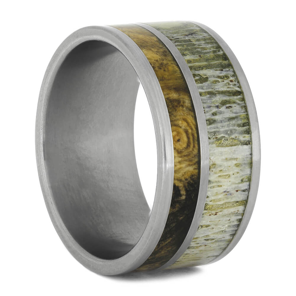 Men's Wide Wedding Band with Deer Antler, Size 10.5-RS11064 - Jewelry by Johan