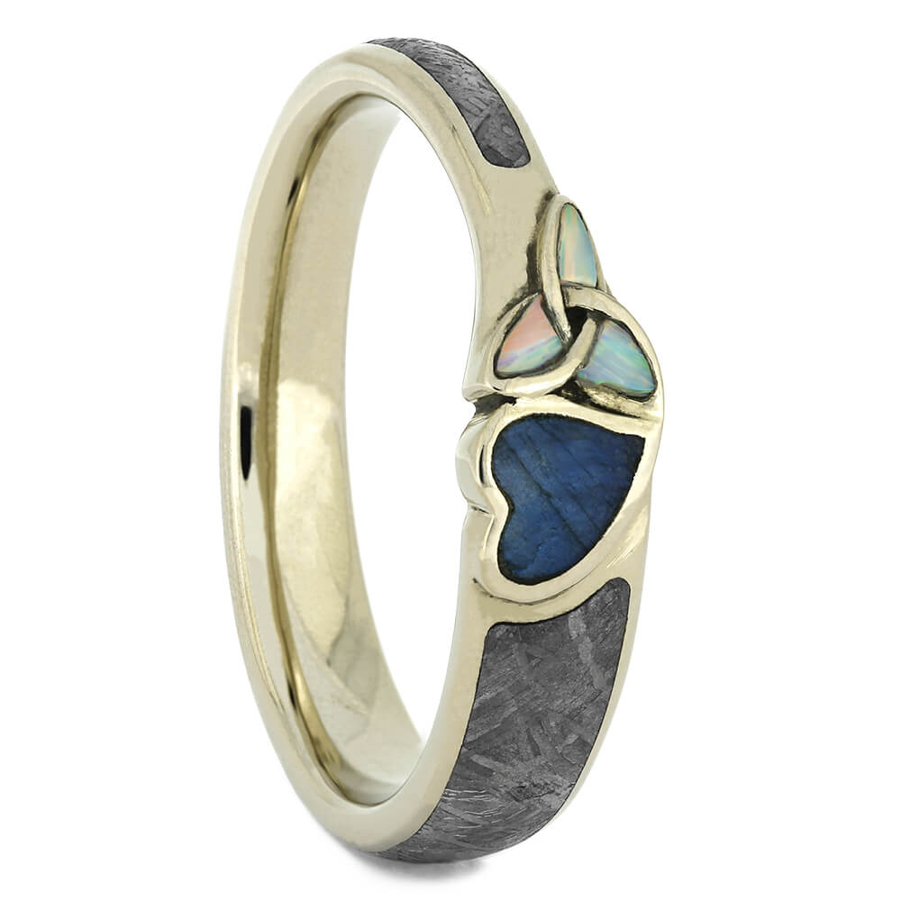 Labradorite and Opal Engagement Ring with Meteorite, Size 10.75-RS11065 - Jewelry by Johan